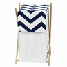 Childrens/Kids Clothes Laundry Hamper for Navy and White Chevron Zig Zag Bedding