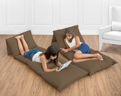 Chocolate Brown Kids Teen Floor Pillow Case Lounger Cushion Cover by Sweet Jojo Designs