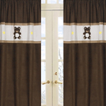 Chocolate Teddy Bear Window Treatment Panels - Set of 2