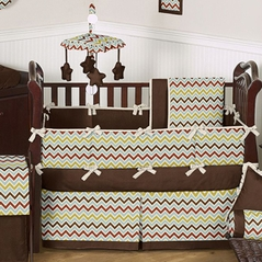 Chocolate Zoom Baby Bedding - 6 pc Crib Set