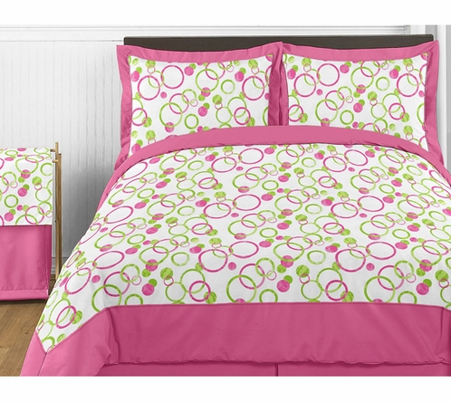 Circles Pink and Green Childrens Bedding - 4pc Twin Set - Click to enlarge