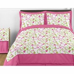Circles Pink and Green Teen Bedding - 3pc Full / Queen Set
