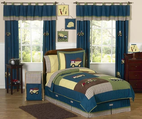 Construction Zone Childrens Bedding - 4 pc Twin Set - Click to enlarge