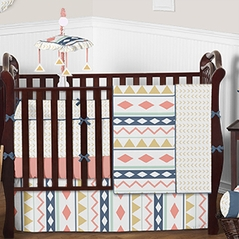 Coral and Gold Aztec Baby Bedding - 9 pc Crib Set by Sweet Jojo Designs