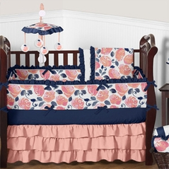 Coral and Navy Blue Floral Baby Bedding - 9 pc Crib Set by Sweet Jojo Designs