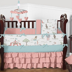 Coral and Turquoise Circus Toile Baby Bedding - 9pc Girls Crib Set by Sweet Jojo Designs