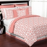 Coral and White Diamond 3pc Full / Queen Teen Girls Bedding Set by Sweet Jojo Designs