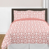 Coral and White Diamond 4pc Twin Girls Bedding Set by Sweet Jojo Designs