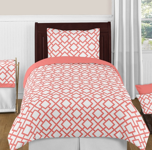 Coral and White Diamond 4pc Twin Girls Bedding Set by Sweet Jojo Designs - Click to enlarge