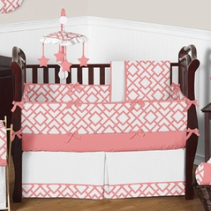 Coral and White Diamond Baby Bedding - 9 pc Crib Set by Sweet Jojo Designs
