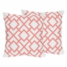 Coral and White Diamond Decorative Accent Throw Pillows - Set of 2