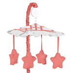 Coral and White Diamond Musical Baby Crib Mobile by Sweet Jojo Designs