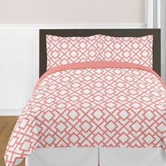Coral and White Diamond Twin Girls Bedding Set by Sweet Jojo Designs