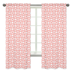 Coral and White Diamond Window Treatment Panels by Sweet Jojo Designs - Set of 2