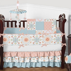 Coral, Blue, Grey and White Floral Chloe Baby Bedding - 9pc Girls Crib Set by Sweet Jojo Designs