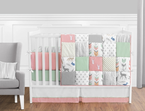 Coral, Mint and Grey Woodsy Deer Baby Bedding - 9pc Girls Crib Set by Sweet Jojo Designs - Click to enlarge