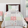 Coral, Mint and Grey Woodsy Deer 4pc Twin Girl Bedding Set by Sweet Jojo Designs