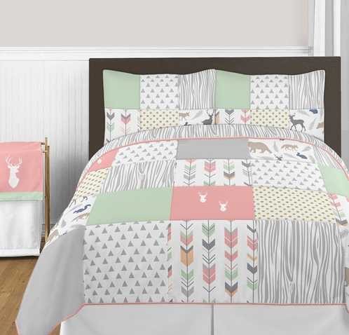 Coral Mint And Grey Woodsy Deer 4pc Twin Girl Bedding Set