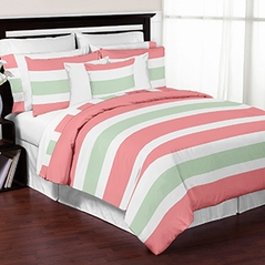 Coral, Mint and White Childrens, Kids, and Teen 3 Piece Full / Queen Stripe Bedding Set Collection by Sweet Jojo Designs