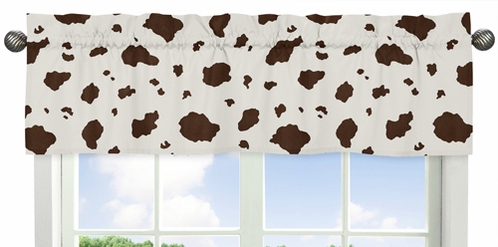 Cow Print Window Valance for Wild West Cowboy Western Collection by Sweet Jojo Designs - Click to enlarge