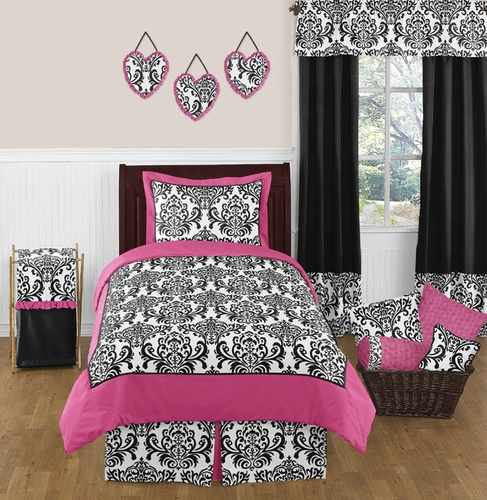 Hot Pink, Black and White Isabella Girls Childrens and Teen Bedding by Sweet Jojo Designs - 4 pc Twin Set - Click to enlarge