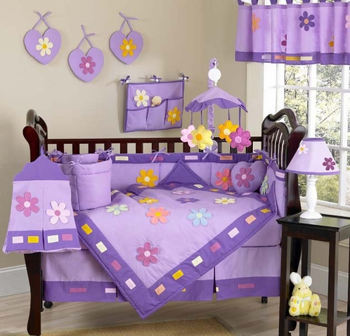 Danielle's Daisies Baby Bedding - 9 pc Purple Crib Bedding Set - Click to enlarge