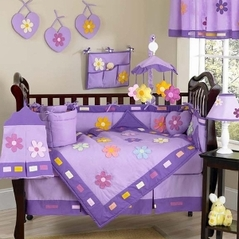 Danielle's Daisies Baby Bedding - 9 pc Purple Crib Bedding Set
