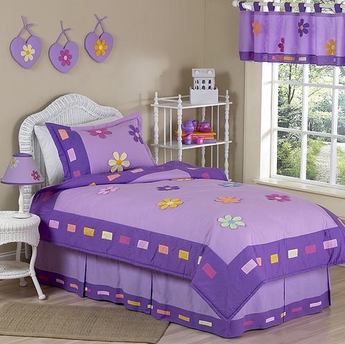 Danielle's Daisies Purple Childrens Bedding - 3pc Full / Queen Set - Click to enlarge