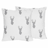 Decorative Accent Throw Pillows for Grey and White Woodland Deer Bedding Sets by Sweet Jojo Designs - Set of 2