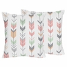 Decorative Accent Throw Pillows for Grey, Coral and Mint Woodland Arrow Bedding by Sweet Jojo Designs - Set of 2