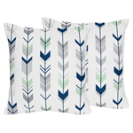 Decorative Accent Throw Pillows for Grey, Navy Blue and Mint Woodland Arrow Bedding by Sweet Jojo Designs - Set of 2