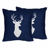 Decorative Accent Throw Pillows for Navy, Mint and Grey Woodsy Bedding Sets by Sweet Jojo Designs - Set of 2