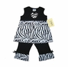 Designer 2pc Baby Girls Boutique Black and White Zebra Print Outfit