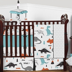 Grey, Turquoise Blue, Orange, Black and White Dinosaur Mod Dino - 9 Piece Baby Boy Bedding Crib Set