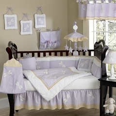 Dragonfly Dreams Lavender Baby Bedding - 9 pc Crib Set