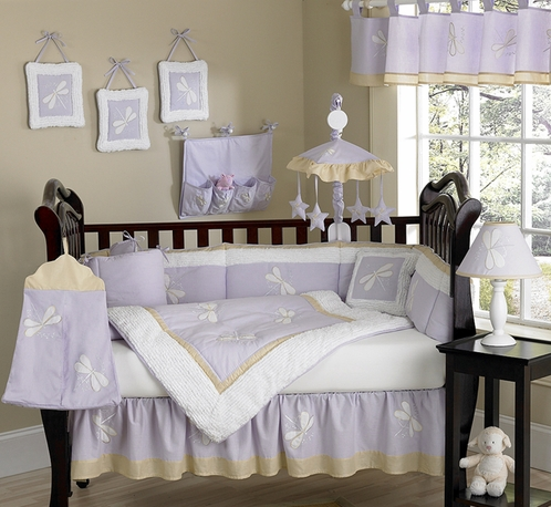 Dragonfly Dreams Lavender Baby Bedding - 9 pc Crib Set - Click to enlarge