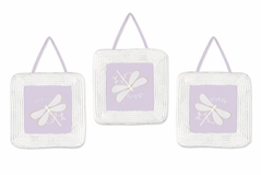 Dragonfly Dreams Purple Wall Hanging Art Decor 3 Piece Set