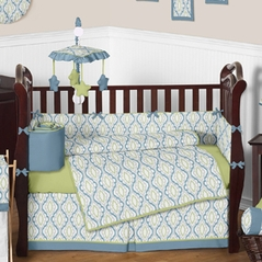Blue and Green Trellis Print Baby Bedding - 9 pc Crib Set by Sweet Jojo Designs