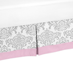 Pink, Gray and White Elizabeth Queen Bed Skirt for Childrens Teen Bedding Sets by Sweet Jojo Designs