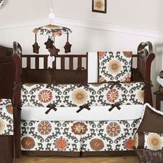 Espresso and Orange Cayenne Baby Bedding - 6 pc Crib Set