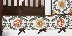 Espresso and Orange Cayenne Baby Crib Bumper Pad