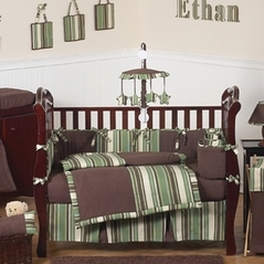 Ethan Green and Brown Modern Boys Baby Bedding - 9pc Crib Set