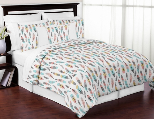 Feather 3pc Girl Full / Queen Bedding Set by Sweet Jojo Designs - Click to enlarge