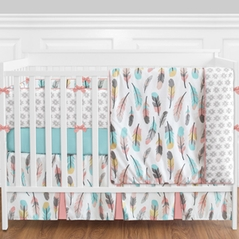 Feather Baby Bedding - 9pc Girls Crib Set by Sweet Jojo Designs