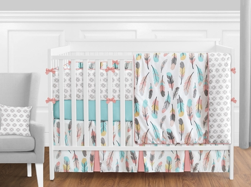 Feather Baby Bedding - 9pc Girls Crib Set by Sweet Jojo Designs - Click to enlarge