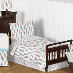 Feather Girl Toddler Bedding - 5pc Set by Sweet Jojo Designs