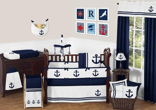 Anchors Away Nautical Baby Bedding 9pc Crib Set By Sweet