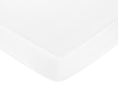 Fitted Crib Sheet for Baby and Toddler Bedding Sets by Sweet Jojo Designs - Solid White Cotton - Click to enlarge