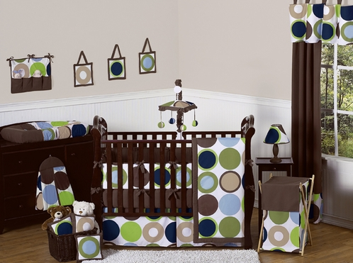Designer Dot Modern Baby Boys Bedding by Sweet Jojo Designs - 9 pc Crib Set - Click to enlarge