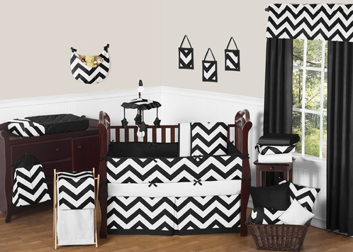 Black and White Chevron ZigZag Baby Bedding - 9pc Crib Set by Sweet Jojo Designs - Click to enlarge